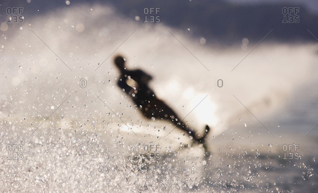 Silhouette of a water-skier