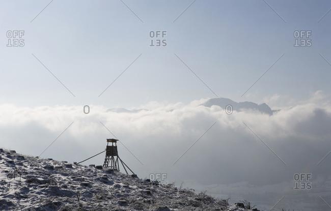 Austria, Salzkammergut, Mondsee, Raised blind on hill
