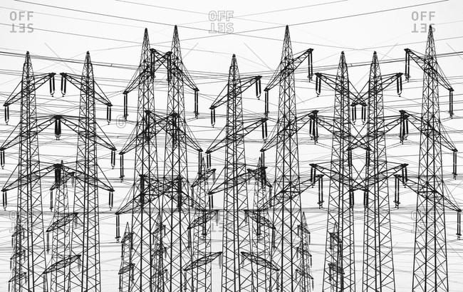 Germany, Hamburg, Power lines