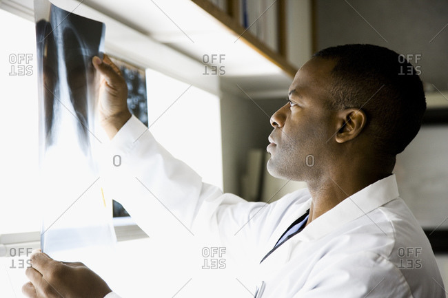 Male doctor looking at chest x-rays