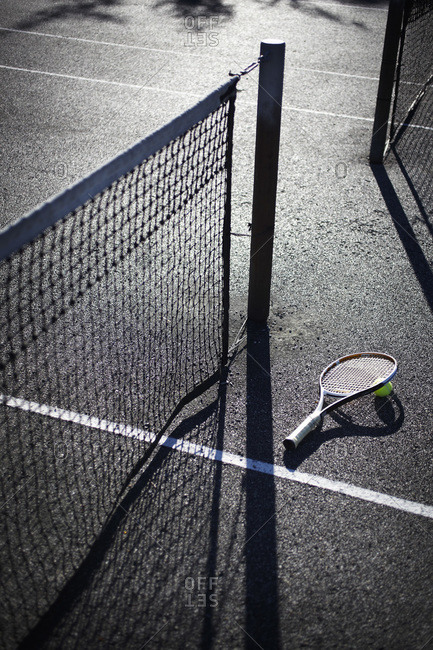 Tennis Racquet and Ball on Court, Vancouver, British Columbia, Canada