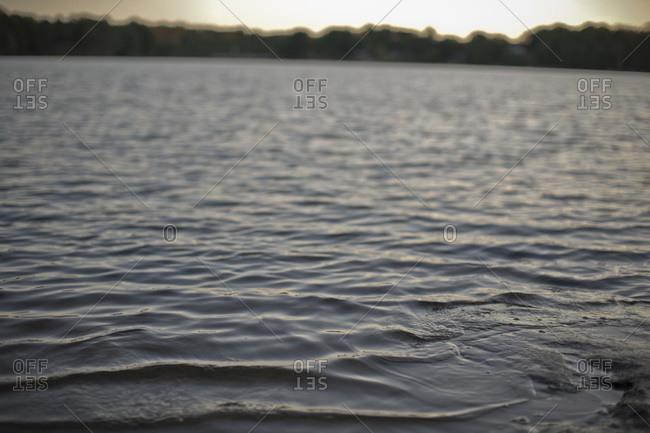 Selective Focus on Lake at Dusk, Muskoka, Ontario, Canada
