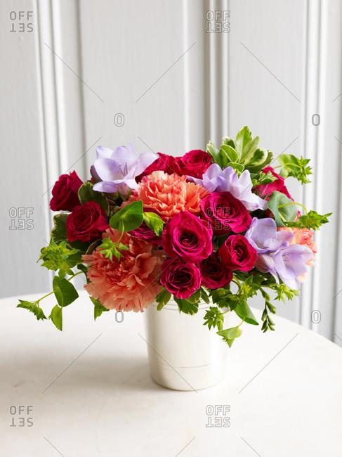 Colorful spring flowers in vase