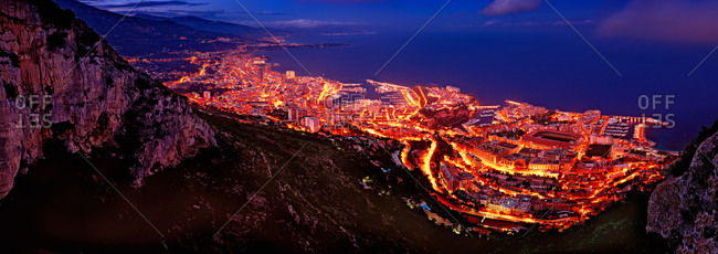 Cityscape of Monte Carlo from the cliffs at night