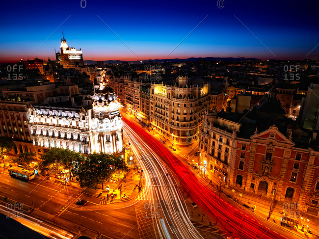 Cityscape of Madrid at night in Spain