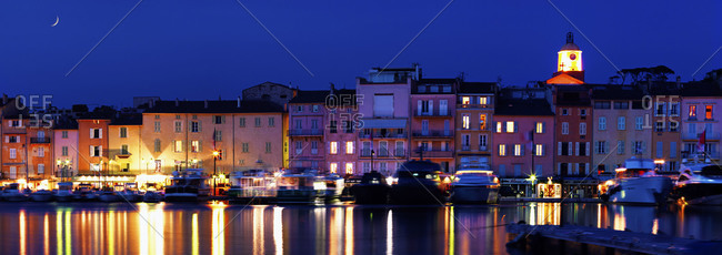 Picturesque view of Saint Tropez harbor at night