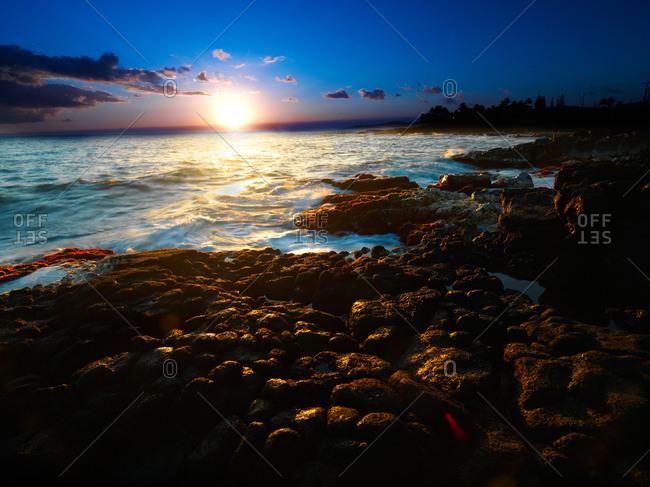 Sunset over coral on the island of Kauai, Hawaii