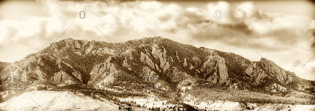 The snowy Flatirons in Boulder, Colorado