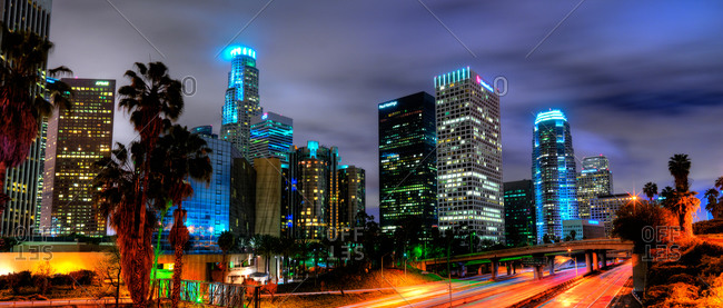 Cityscape of Los Angeles in California at night