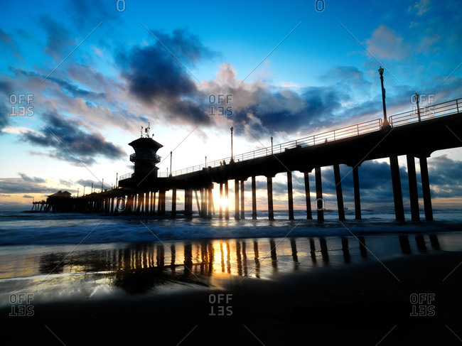 Sunset with pier in California
