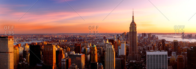 Sunset above Manhattan in New York City