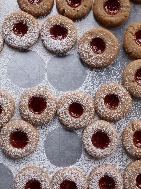 a fresh batch of linzer thumbprint cookies