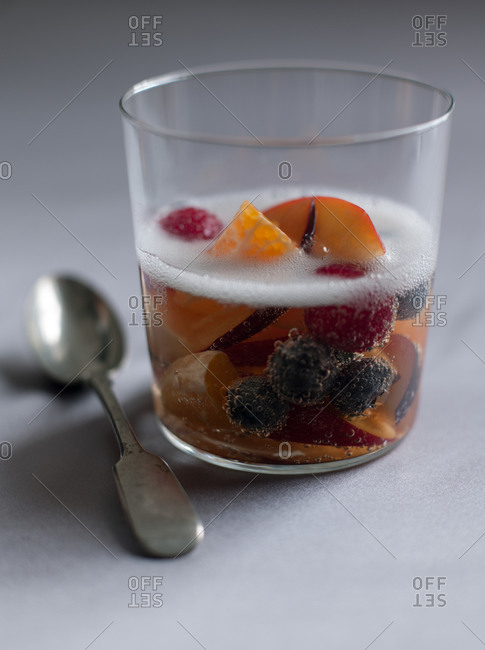 Carbonated Fizzy Fruit served in glass