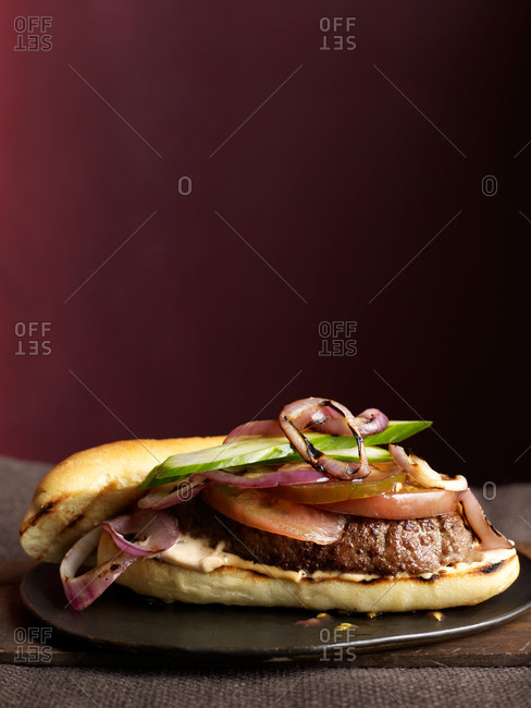 Cumin spiced burgers with hot chili mayonnaise