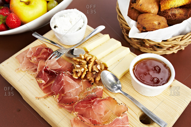 Overhead view of cheese and ham platter