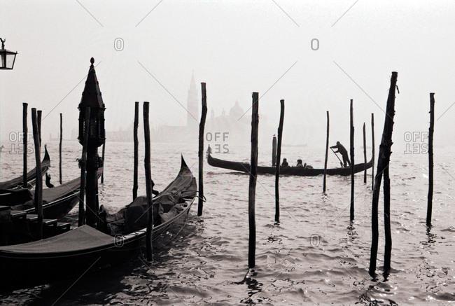 gondolas in the water in Venice
