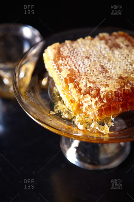 honeycomb on a display stand