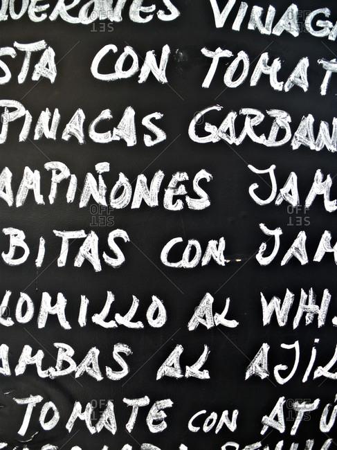 spanish menu on a blackboard