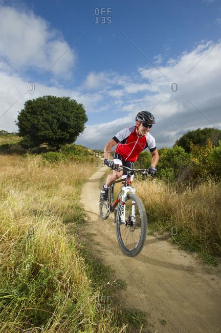 Mike mountain biking in China Camp State Park, california,a