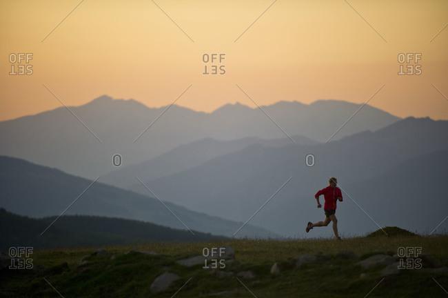 Woman trail running in Font Romeu, France