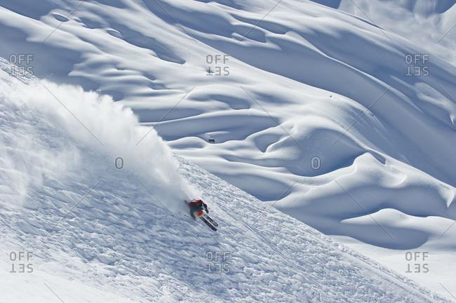 Man skiing in Portillo, Chile