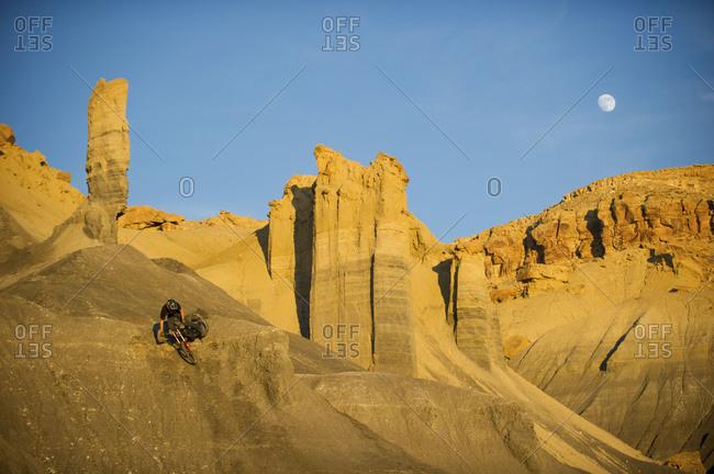 a man freestyle mountain bike jumping