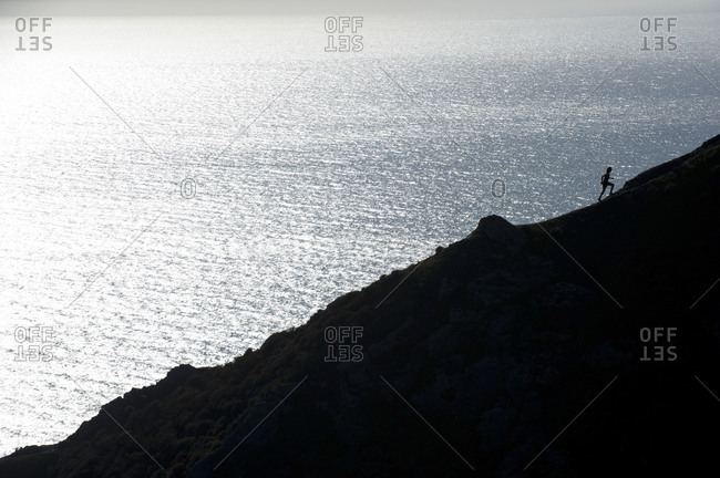 view of a person running in the Marin Headlands, Marin County, CA
