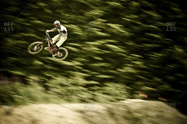 action shot of man cycling