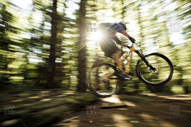 motion shot of a man biking through Demo Forest  california,a