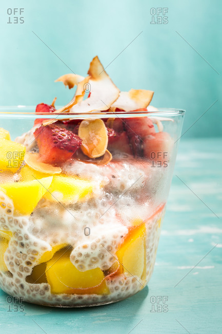 Exotic fruits dessert served in a rock glass