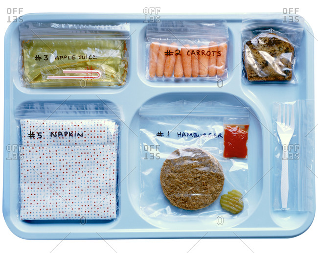 Lunch tray with bagged food