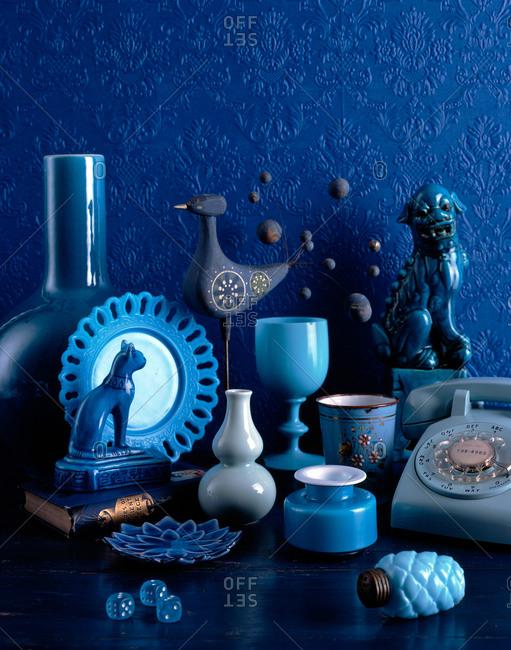 Blue ceramic figurines and decoration