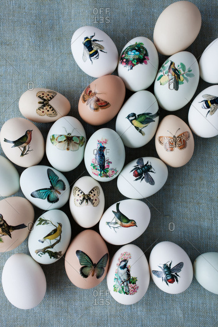 Top view of Easter eggs