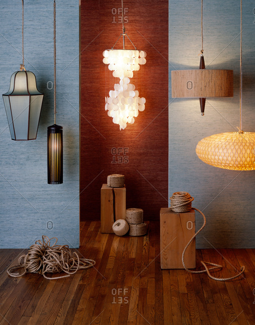 Different hanging lamps in a room