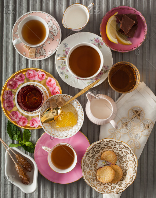 Top view of tea time table setting
