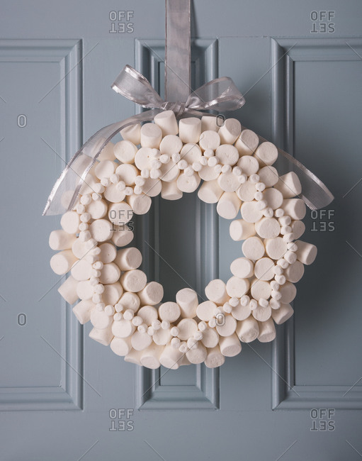 Marshmallow Wreath Hanging On Door Stock Photo Offset