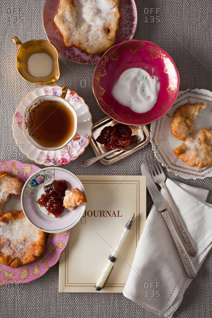 Afternoon tea setting with cookies and jam