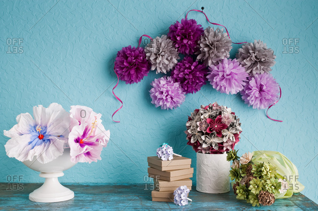 Still-life tissue paper hanging orbs and puff flowers