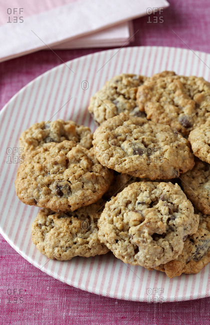 Oatmeal raisin cookies served on the table at home