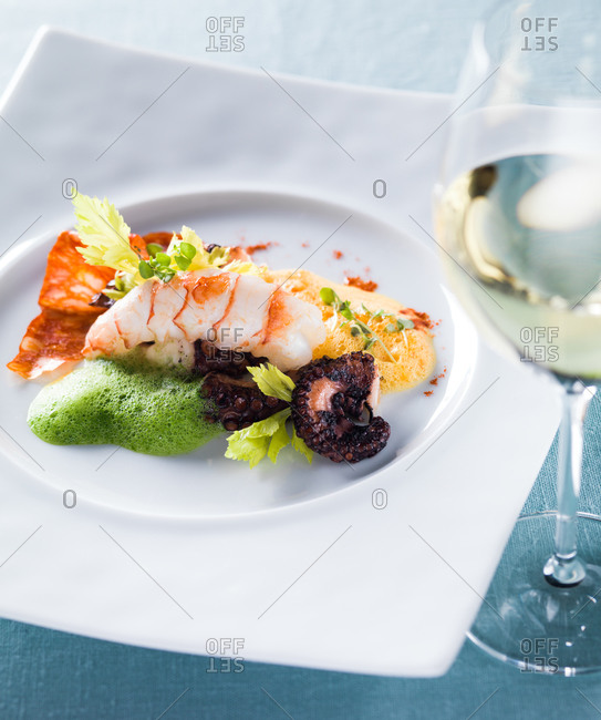 Grilled octopus and langoustine served on elegant white plate with glass of white wine.