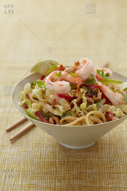 Spicy peanut noodles with shrimp
