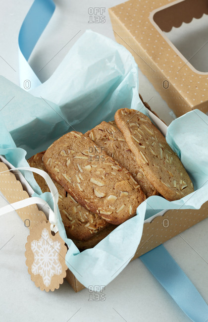 Homemade almond cantuccini in paper box