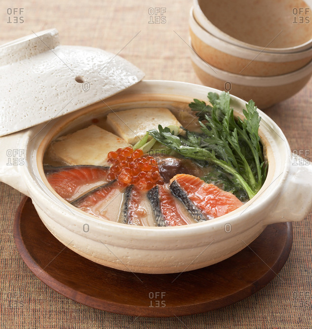 Japanese Hot Pot from salmon, tofu and shiitake
