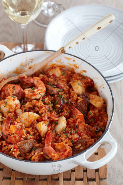 Pot of creole jambalaya