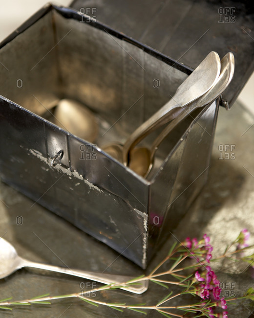 Metal box with silver spoons