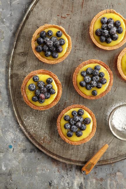 Lemon tartlets with lemon curd filling and fresh blueberries