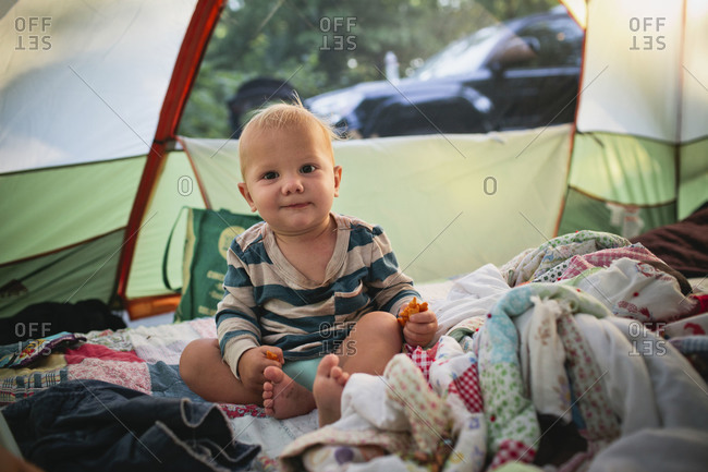 baby boy in tent