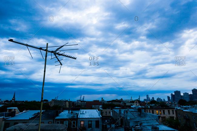 Brooklyn skyline with TV antenna