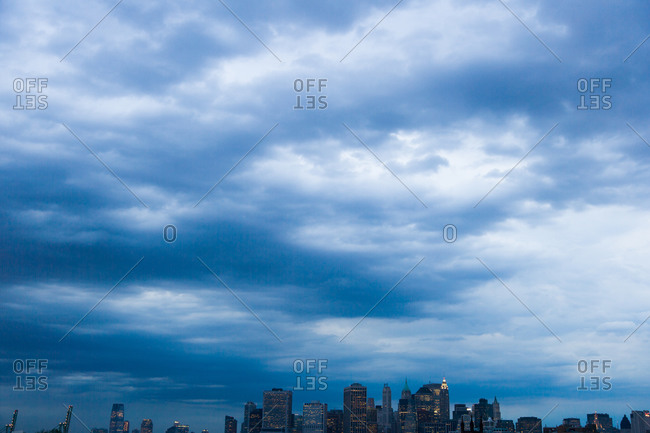 Brooklyn skyline at twilight - Offset