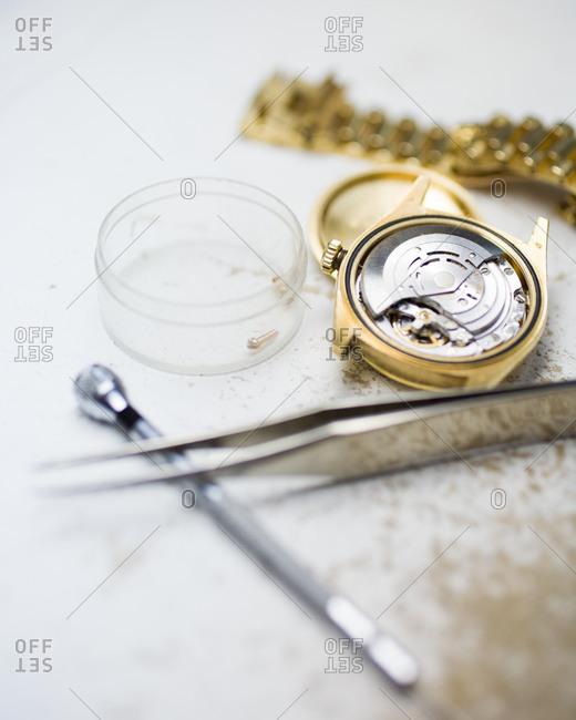 Close-up of watchmaker tools
